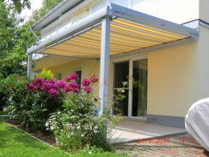 Terrassen Glasdach mit Unterglasmarkise