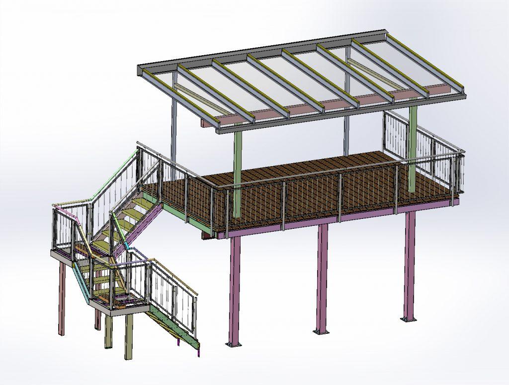 Balkon Stahlkonstruktion mit Wangentreppe.